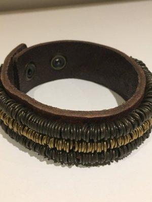 REPLAY Lederarmband mit aufgenähten Ringen, NEU und ungetragen