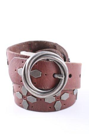 Replay Cintura di pelle argento-marrone stile casual