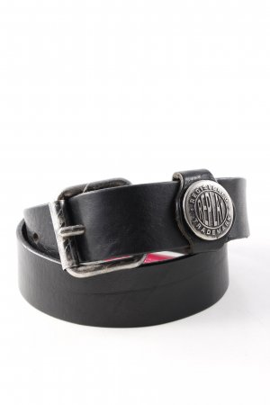 Replay Leather Belt black-silver-colored casual look