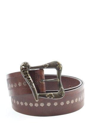 Replay Cinturón de cuero marrón look casual