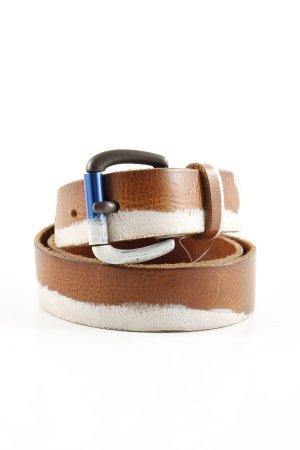 Replay Ledergürtel braun-weiß Farbverlauf extravaganter Stil