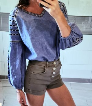 Replay leinen Hemd Tunika Bluse Bestickt Hippie Boho