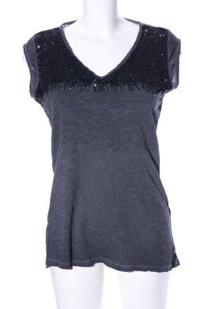 Replay Lang shirt lichtgrijs-zwart gestippeld wetlook