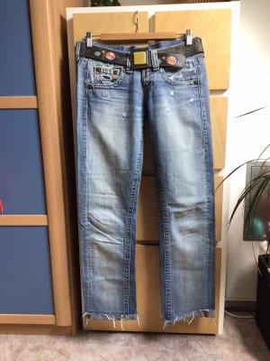 Replay Jeans taille basse bleu azur-bleu acier coton
