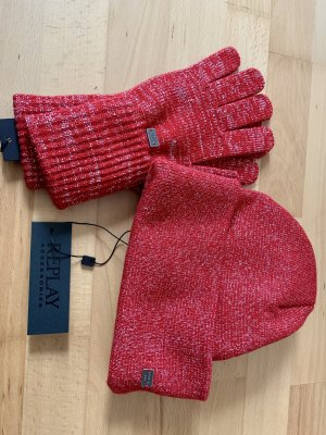 Replay Knitted Gloves dark red