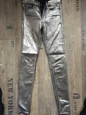 Replay Pantalón de tubo negro-color plata