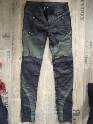 Replay Pantalón de tubo negro-gris verdoso