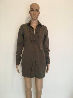 Replay Rüschen Bordüre Tunika Bluse Longtop Long lang Top Oberteil Hemd Minikleid Oliv Khaki grün Army Military xs