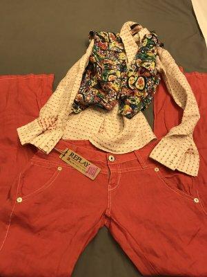 Replay Pantalón de lino rojo