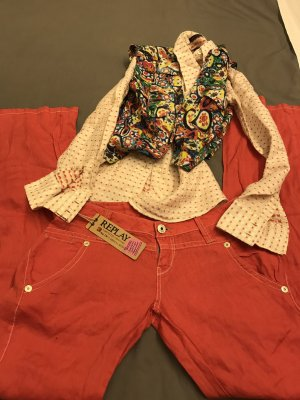 Replay Linen Pants red