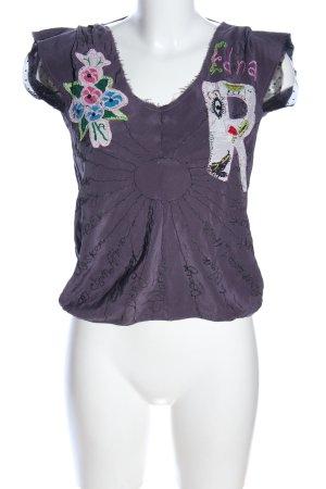 Replay Blouse à enfiler blanc cassé-violet lettrage brodé style décontracté