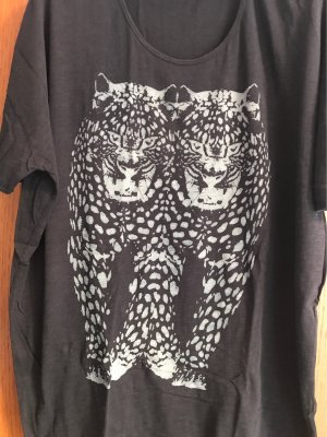 Replay Lang shirt taupe-zwart Katoen