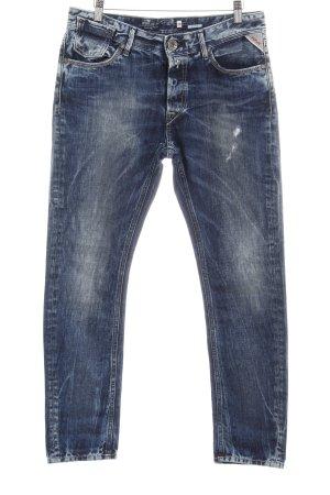 Replay Skinny Jeans dunkelblau Destroy-Optik