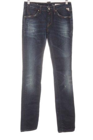 Replay Skinny Jeans dunkelblau Logo-Applikation aus Leder