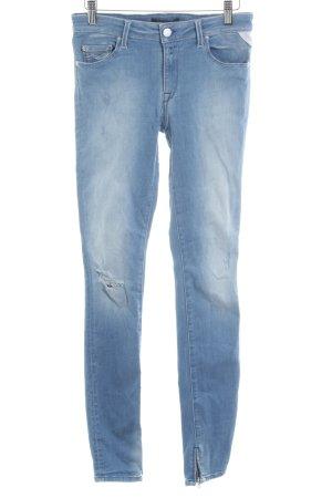 Replay Skinny Jeans himmelblau Logo-Applikation