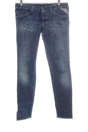 Replay Slim Jeans dunkelblau-weiß Casual-Look