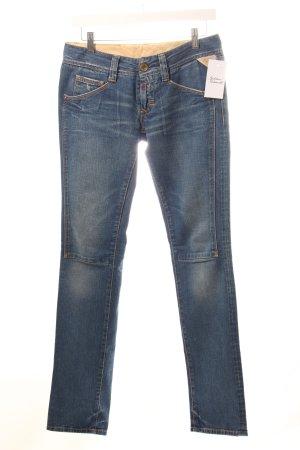 Replay Slim Jeans stahlblau Logo-Applikation aus Leder