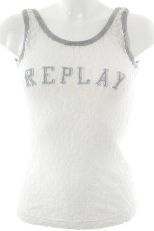 Replay Kanten topje wit casual uitstraling