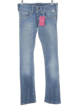 Replay Jeansy z prostymi nogawkami niebieski Logo wykonane ze skóry