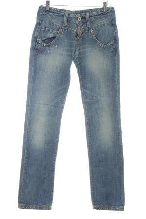 Replay Straight-Leg Jeans kornblumenblau Logo-Applikation