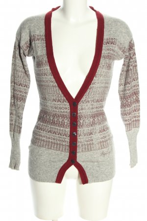 Replay Strickjacke hellgrau-rot grafisches Muster Casual-Look
