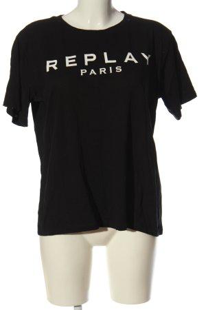 Replay Camiseta negro-blanco letras impresas look casual