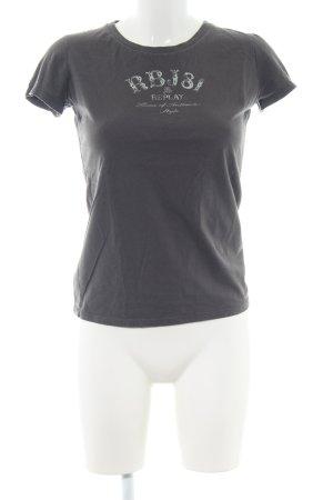 Replay T-Shirt hellgrau Schriftzug gedruckt Casual-Look