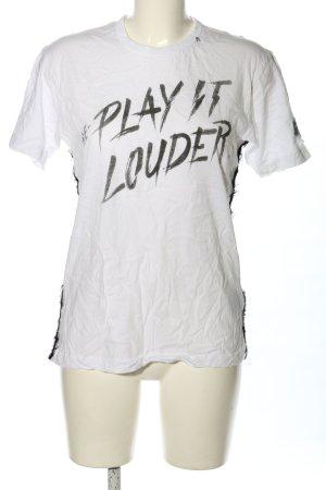 Replay T-shirt blanc-noir lettrage imprimé style décontracté
