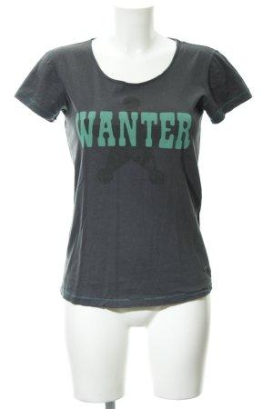 Replay T-Shirt dunkelgrau Schriftzug gedruckt sportlicher Stil