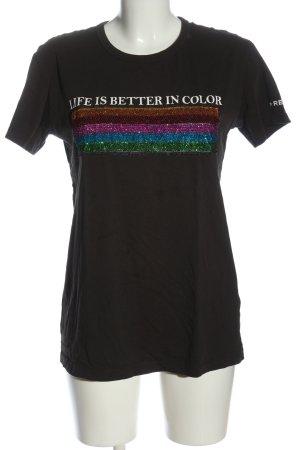 Replay T-Shirt schwarz Schriftzug gedruckt Casual-Look