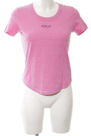 Replay T-Shirt pink Schriftzug gedruckt schlichter Stil