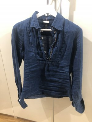 Replay Blusa in lino blu