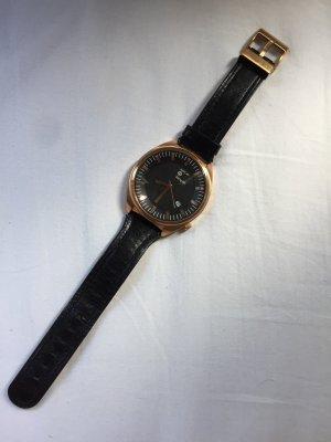 Replay Zegarek ze skórzanym paskiem czarny-złoto