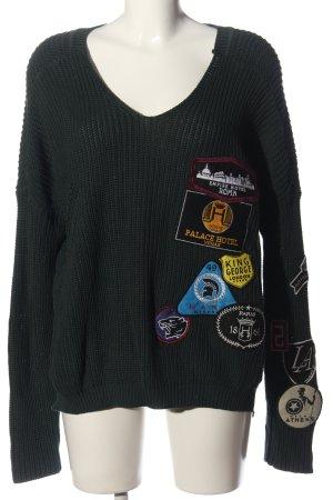 Replay V-Ausschnitt-Pullover grün Zopfmuster Casual-Look