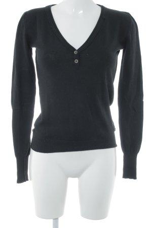 Replay V-Ausschnitt-Pullover schwarz Casual-Look
