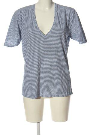 Replay Camisa con cuello V azul-blanco look casual