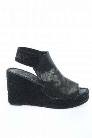 Replay Wedge Sandals black themed print casual look