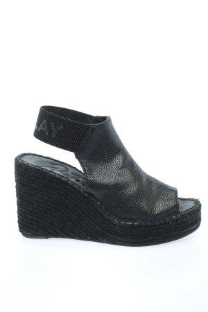 Replay Sandały klinowe na obcasie czarny Nadruk z motywem W stylu casual