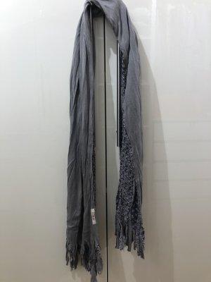 Replay Écharpe à franges gris-bleuet coton