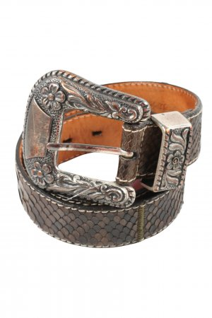 Reptile's House Cintura di pelle marrone stampa integrale stile casual