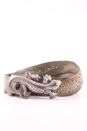 Reptile's House Cintura di pelle marrone-argento stile stravagante