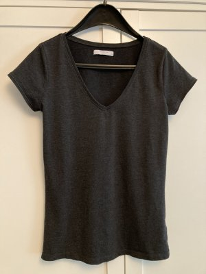 Reserved Basic Shirt dunkelgrau meliert Gr. XS V-Ausschnitt Stretch
