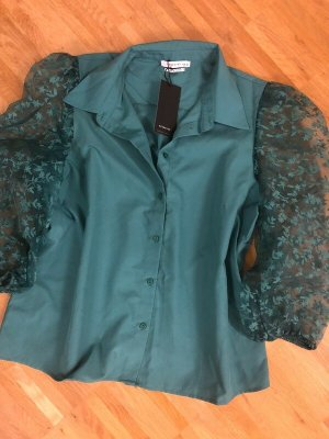 Reserved Bluse 42 XL neu grün Organza Ärmel