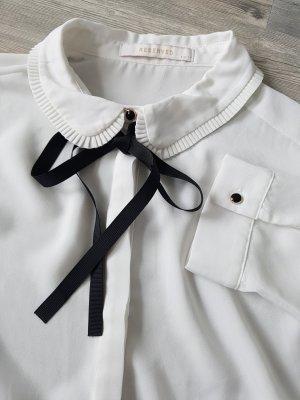 RESERVED Bluse, Gr.40, weiß, leicht transparent, Bindeschleife, Chanel-Style