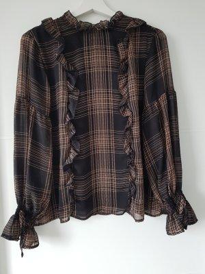 RESERVED Bluse/Oberteil mit Schleifen und Volants, Gr.38, schwarz/braun