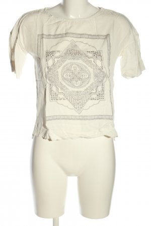 Reserved Cropped Shirt creme-hellgrau grafisches Muster Casual-Look