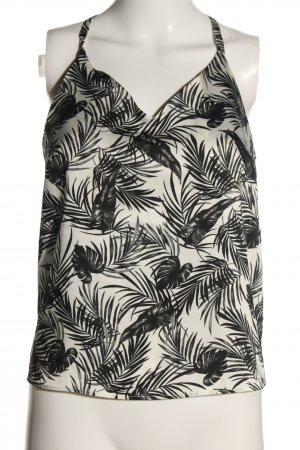 Reserved Cut out top wit-zwart volledige print casual uitstraling