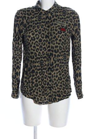 Reserved Hemd-Bluse khaki-schwarz Animalmuster extravaganter Stil