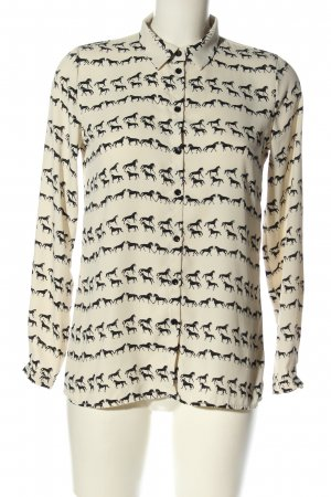 Reserved Hemd-Bluse creme-schwarz abstraktes Muster Casual-Look