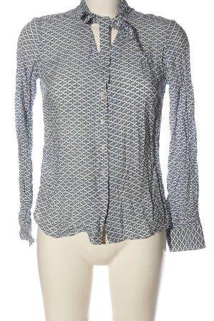 Reserved Hemd-Bluse weiß-blau Allover-Druck Casual-Look